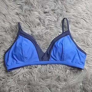 Athleta sz XL blue padded bikini top adj strap